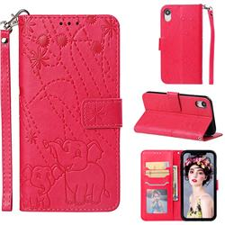 Embossing Fireworks Elephant Leather Wallet Case for iPhone Xr (6.1 inch) - Red