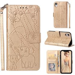 Embossing Fireworks Elephant Leather Wallet Case for iPhone Xr (6.1 inch) - Golden