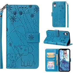 Embossing Fireworks Elephant Leather Wallet Case for iPhone Xr (6.1 inch) - Blue