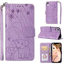 Embossing Fireworks Elephant Leather Wallet Case for iPhone Xr (6.1 inch) - Purple