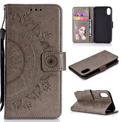 Intricate Embossing Datura Leather Wallet Case for iPhone Xr (6.1 inch) - Gray