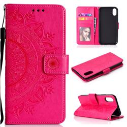 Intricate Embossing Datura Leather Wallet Case for iPhone Xr (6.1 inch) - Rose Red