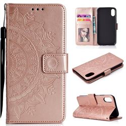 Intricate Embossing Datura Leather Wallet Case for iPhone Xr (6.1 inch) - Rose Gold