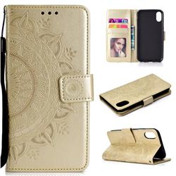 Intricate Embossing Datura Leather Wallet Case for iPhone Xr (6.1 inch) - Golden