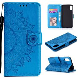 Intricate Embossing Datura Leather Wallet Case for iPhone Xr (6.1 inch) - Blue