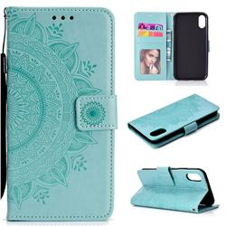 Intricate Embossing Datura Leather Wallet Case for iPhone Xr (6.1 inch) - Mint Green