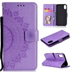 Intricate Embossing Datura Leather Wallet Case for iPhone Xr (6.1 inch) - Purple