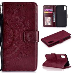 Intricate Embossing Datura Leather Wallet Case for iPhone Xr (6.1 inch) - Brown