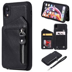 Classic Luxury Buckle Zipper Anti-fall Leather Phone Back Cover for iPhone Xr (6.1 inch) - Black