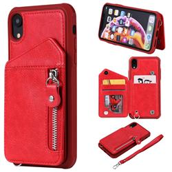 Classic Luxury Buckle Zipper Anti-fall Leather Phone Back Cover for iPhone Xr (6.1 inch) - Red