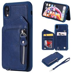Classic Luxury Buckle Zipper Anti-fall Leather Phone Back Cover for iPhone Xr (6.1 inch) - Blue