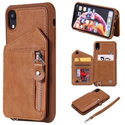 Classic Luxury Buckle Zipper Anti-fall Leather Phone Back Cover for iPhone Xr (6.1 inch) - Brown