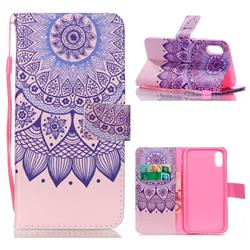 Purple Sunflower Leather Wallet Phone Case for iPhone Xr (6.1 inch)