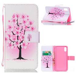 Peach Flower Leather Wallet Phone Case for iPhone Xr (6.1 inch)