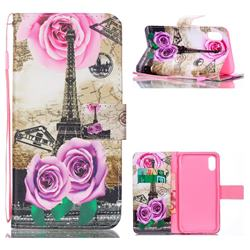 Rose Eiffel Tower Leather Wallet Phone Case for iPhone Xr (6.1 inch)