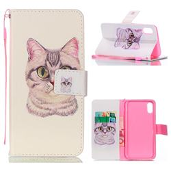 Lovely Cat Leather Wallet Phone Case for iPhone Xr (6.1 inch)