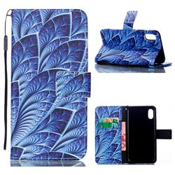 Blue Feather Leather Wallet Phone Case for iPhone Xr (6.1 inch)