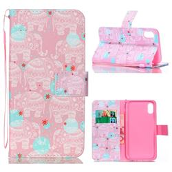 Pink Elephant Leather Wallet Phone Case for iPhone Xr (6.1 inch)
