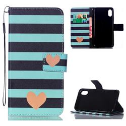 Blue Stripe Heart Leather Wallet Phone Case for iPhone Xr (6.1 inch)