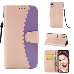 Lace Stitching Mobile Phone Case for iPhone Xr (6.1 inch) - Purple