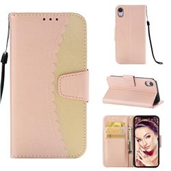 Lace Stitching Mobile Phone Case for iPhone Xr (6.1 inch) - Golden