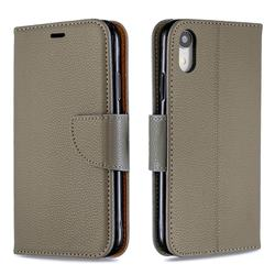 Classic Luxury Litchi Leather Phone Wallet Case for iPhone Xr (6.1 inch) - Gray