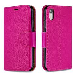 Classic Luxury Litchi Leather Phone Wallet Case for iPhone Xr (6.1 inch) - Rose