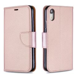 Classic Luxury Litchi Leather Phone Wallet Case for iPhone Xr (6.1 inch) - Golden