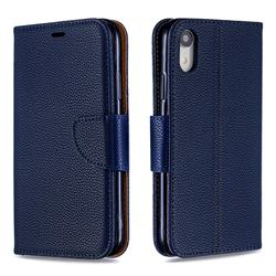 Classic Luxury Litchi Leather Phone Wallet Case for iPhone Xr (6.1 inch) - Blue