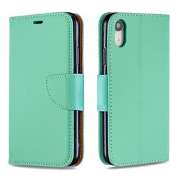 Classic Luxury Litchi Leather Phone Wallet Case for iPhone Xr (6.1 inch) - Green