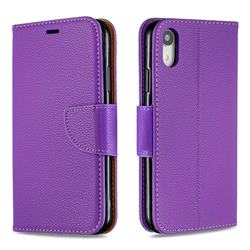Classic Luxury Litchi Leather Phone Wallet Case for iPhone Xr (6.1 inch) - Purple
