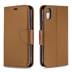 Classic Luxury Litchi Leather Phone Wallet Case for iPhone Xr (6.1 inch) - Brown