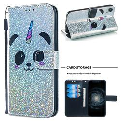 Panda Unicorn Sequins Painted Leather Wallet Case for iPhone Xr (6.1 inch)