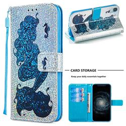 Mermaid Seahorse Sequins Painted Leather Wallet Case for iPhone Xr (6.1 inch)