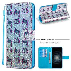 Little Unicorn Sequins Painted Leather Wallet Case for iPhone Xr (6.1 inch)