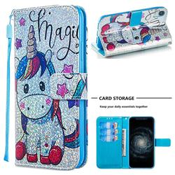 Star Unicorn Sequins Painted Leather Wallet Case for iPhone Xr (6.1 inch)