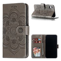 Intricate Embossing Datura Solar Leather Wallet Case for iPhone Xr (6.1 inch) - Gray