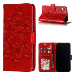 Intricate Embossing Datura Solar Leather Wallet Case for iPhone Xr (6.1 inch) - Red