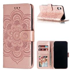 Intricate Embossing Datura Solar Leather Wallet Case for iPhone Xr (6.1 inch) - Rose Gold