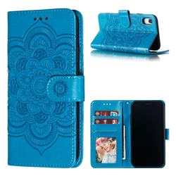 Intricate Embossing Datura Solar Leather Wallet Case for iPhone Xr (6.1 inch) - Blue