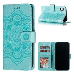 Intricate Embossing Datura Solar Leather Wallet Case for iPhone Xr (6.1 inch) - Green