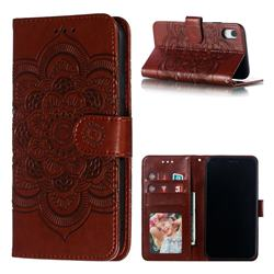 Intricate Embossing Datura Solar Leather Wallet Case for iPhone Xr (6.1 inch) - Brown