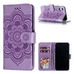 Intricate Embossing Datura Solar Leather Wallet Case for iPhone Xr (6.1 inch) - Purple