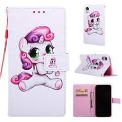 Playful Pony Matte Leather Wallet Phone Case for iPhone Xr (6.1 inch)