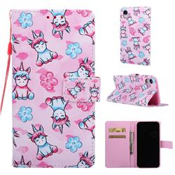 Unicorn and Flowers Matte Leather Wallet Phone Case for iPhone Xr (6.1 inch)