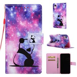Panda Baby Matte Leather Wallet Phone Case for iPhone Xr (6.1 inch)