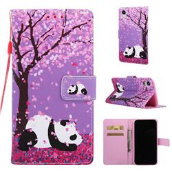 Cherry Blossom Panda Matte Leather Wallet Phone Case for iPhone Xr (6.1 inch)
