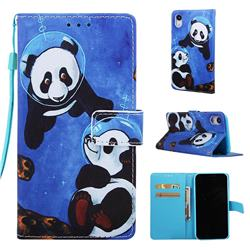 Undersea Panda Matte Leather Wallet Phone Case for iPhone Xr (6.1 inch)