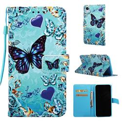 Love Butterfly Matte Leather Wallet Phone Case for iPhone Xr (6.1 inch)