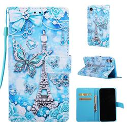Tower Butterfly Matte Leather Wallet Phone Case for iPhone Xr (6.1 inch)